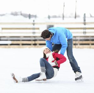 ice skating couple winter fun