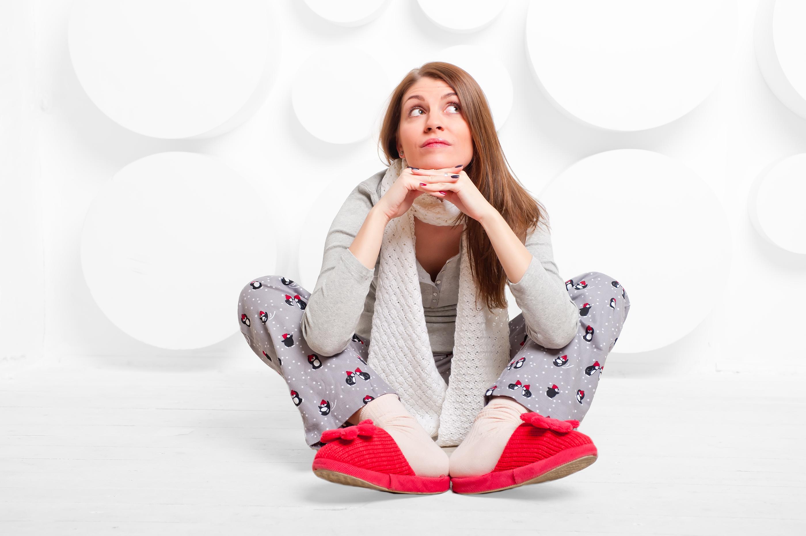 Girl In Studio In Slippers And Pajamas